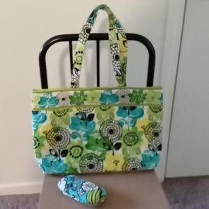 Vera Bradley Blue/Green Floral Tote and Glass Case